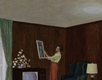 An oil painting by Scott Hagen that shows a woman hanging a painting circa 1950's
