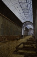 An oil painting by Scott Hagen that shows the Louvre with scattered empty frames after the removal of the fine art before the Germans arrived during World War II